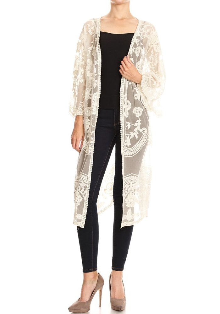 Anna-Kaci Womens Long Embroidered Lace Kimono Cardigan with Half Sleeves, Beige, Onesize