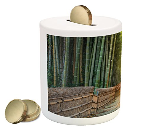 (Lunarable Chinese Piggy Bank, Chinese Ancient Bridge to Arashiyama Bamboo Tree Forest Exotic Savannah Picture, Printed Ceramic Coin Bank Money Box for Cash Saving, Green Brown)
