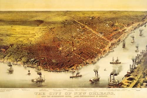 24x36 Bird/'s Eye View 1885 New Orleans Lousiana Vintage Style City Map