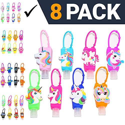 KINIA 8 Pack Kids Unicorn Hand Sanitizer Travel Sized Keychain Carriers – 8-1 fl oz Flip Cap Reusable Portable Bottles 8-Variety Pack UNICORN