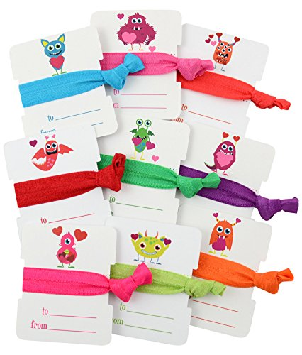 Cyndibands Valentine's Day Cards Hair Ties for Kids, Classroom Exchanges and Friends (9 Packs Monster - Bracelet Heart 9k
