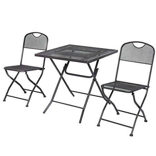 Giantex 3 PCS Outdoor Patio Bistro Furniture Set Steel Mesh Frame Bistro Square Table (Black)