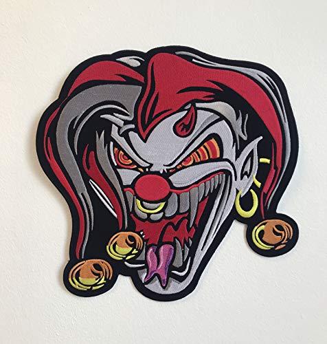 Jester Joker Skull Large Biker Jacket Back Sew On Embroidered Patch