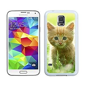 Popular Design Green Grass Christmas Cat Samsung Galaxy S5 White Silicone Case,Samsung I9600 Phone Case