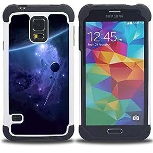 - purple alien galaxy stars universe planet/ H??brido 3in1 Deluxe Impreso duro Soft Alto Impacto caja de la armadura Defender - SHIMIN CAO - For Samsung Galaxy S5 I9600 G9009 G9008V