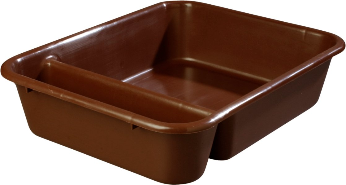 Carlisle 038601 Save All Polyethylene Compartmented Bus Box, 22'' Length x 17'' Width x 5'' Height, Brown (Case of 12)