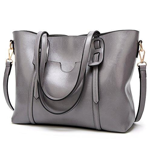 LoZoDo Women Top Handle Satchel Handbags Shoulder Bag Tote Purse (Grey2)