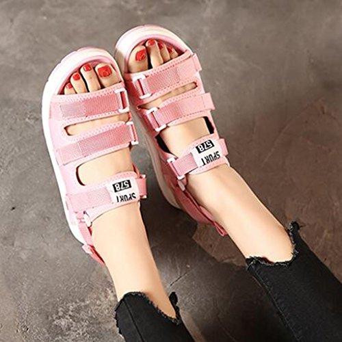 Sandales Féminin Semelle Loisirs Tige Été Deux Rose Femmes pour en Chaussures Tissu Sport Pantoufles Vêtements Épaisse Élastique Velcro frfx8