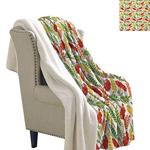 Gabriesl Rowan Blanket Small Quilt 60x47 Inch Autumnal Flora Wild Rural Nature Pattern Botanical Theme with Vibrant Colorful Leaves Flannel Blanket Multicolor