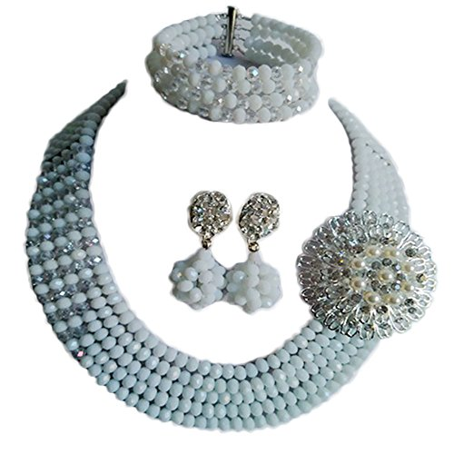 Nigerian Wedding African White Beads Bridal Jewelry Sets LCF052 (Trading Company Costume Jewelry)