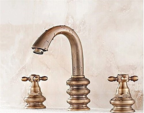 Ling Kitchen Sink Faucets Basin Mixer Faucet Tap Bathroom Faucet Tap Cold Water 3-Piece 8-inch Antique Retro 8-inch Three Hole Spout Water Pull ()