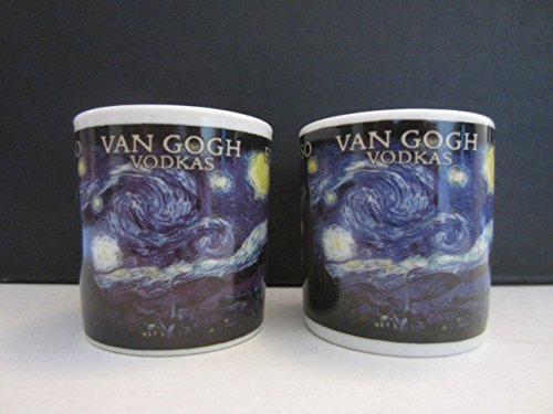 Set of 2 Van Gogh Espresso Vodka Netherlands Paintings Tasting Shot Glasses Mini Mugs Cups (Vodka Van Gogh)