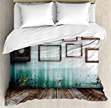 Clock Decor Duvet Cover Set by Ambesonne, A Vintage Clock and Empty Picture Frames in an Old Room Wooden Backdrop, 3 Piece Bedding Set with Pillow Shams, Queen / Full, Green and Brown