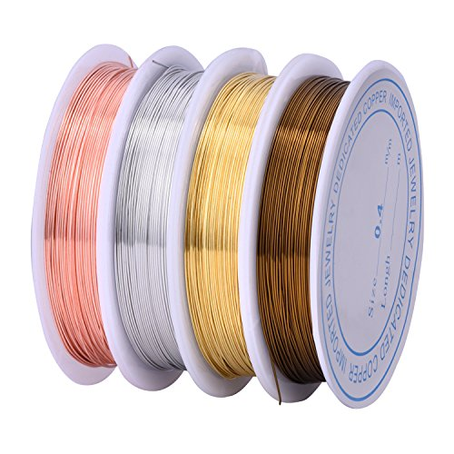 Outus Copper Wire Roll Jewelry Beading Wire Rolls, 0.4 mm, 4 Pieces