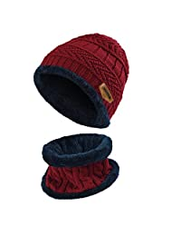 Vbiger Kids Warm Knitted Hat and Circle Scarf with Fleece Lining, for Boys and Girls,2 Pieces (Wine Red)