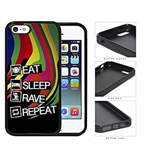 Eat Sleep Rave Repeat Rubber Silicone TPU Cell Phone Case Apple iPhone 5 5s by lolosakes