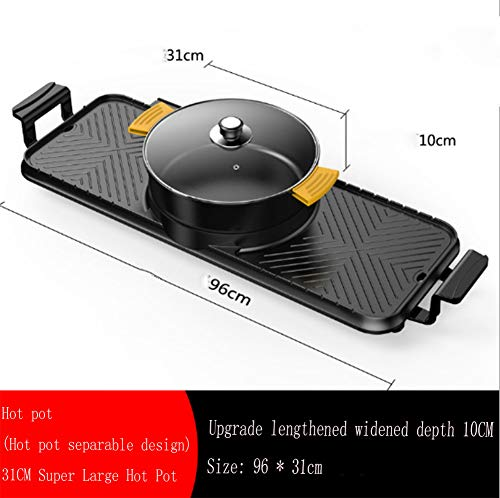 YFJL Barbecue-Electric Barbecue and Hot Pot, 2 in 1 Electric Barbecue, Electric Hot Pot, Electric Barbecue, Electric Pan, Integrated Pot, Teppanyaki Electric Grill,A