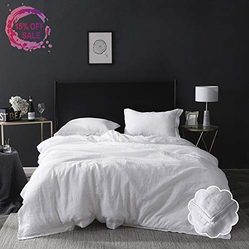 Simple&Opulence 100% Linen Duvet Cover Set 3 Piece White and Grey Solid Wash Queen Size (1 Duvet Cover, 2 Pillowcases)