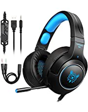 Gaming Headset PS4 ,Tenswall PC Headphonefor Xbox One,PC,Switch,PS4,Tablet,Mobile with LED Light Mic, 3.5mm jack Over-Ear stereo with Noise Canceling and Volume Control-Blue