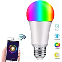 Bombilla LED Inteligente WiFi Focos Inteligentes de Colores Lámpara Dimmable Luces inteligentes Smart Bulb 6500K 7W RGBW 650LM con Remoto Controlado por Amazon Echo Alexa Google Home IFTTT E26