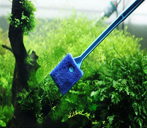 YJYdada Practical Aquarium Plant Algae Cleaner Glass Fish Tank Clean Cleaning Brush (Blue)
