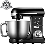 : Stand Mixer, Aicok 5-Quart 500-Watt 6-Speed Dough Mixer with Stainless Steel Bowl, Tilt-Head Food Mixer, Kitchen Electric Mixer with Double Dough Hooks, Whisk, Beater, Pouring Shield, Black