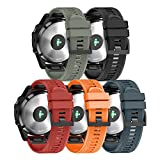 ANCOOL Compatible Garmin Fenix 5 Band Easy Fit 22mm Width Soft Silicone Watch Strap Compatible Garmin Fenix 5/Fenix 5 Plus/Forerunner 935/Approach S60/Quatix 5 - Pack of 5