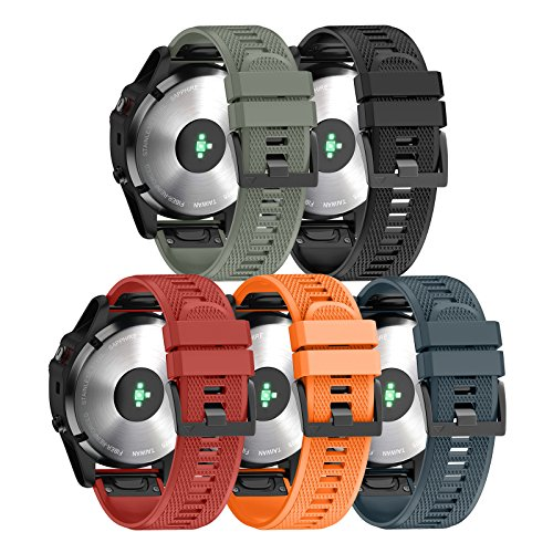 ANCOOL Compatible Garmin Fenix 5 Band Easy Fit 22mm Width Soft Silicone Watch Strap Compatible Garmin Fenix 5/Fenix 5 Plus/Forerunner 935/Approach S60/Quatix 5 - Pack of 5