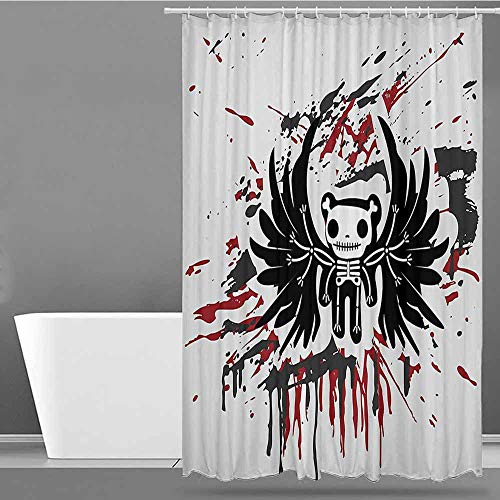 XXANS Kids Bathroom Shower Curtain,Halloween,Single stall Shower Curtain,W48x72L Pearl Black Ruby