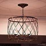 Luxury French Country Chandelier, Medium Size: 20''H x 23''W, with Shabby Chic Style Elements, Gold Accented Silver Leaf Finish and Open Metal Lattice Shade, UQL2261 by Urban Ambiance