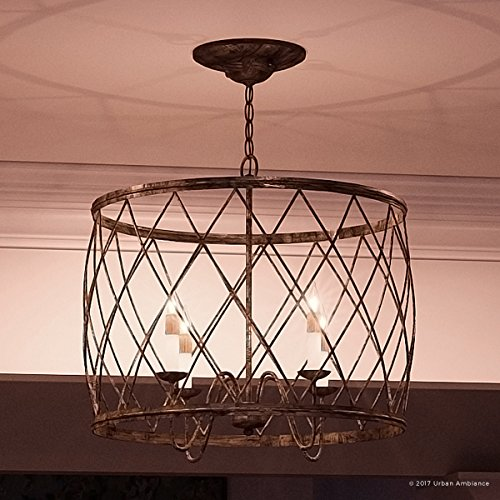"""Luxury French Country Chandelier, Medium Size: 20""""H x 23""""W, with Shabby Chic Style Elements, Gold Accented Silver Leaf Finish and Open Metal Lattice Shade, UQL2261 by Urban Ambiance"""