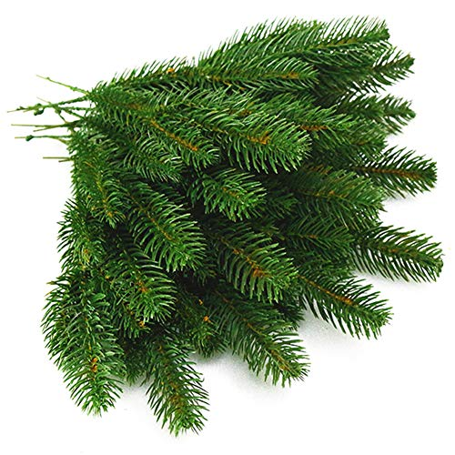 Garland Green Pine - Yarssir 25pcs Artificial Pine Green Leaves Needle Garland for Christmas Embellishing and Home Garden Decor, 11x4.7 Inches(Green-25 Pack)