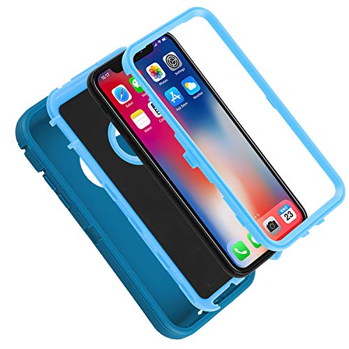 Co-Goldguard Case for iPhone X, iPhone 10 [Heavy Duty] 3 in 1 Cover Dust-Proof Shockproof Drop-Proof Scratch-Resistant Shell Case for Apple iPhone X/10 5.8 inch,Green&Blue