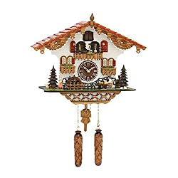 Trenkle Quartz Cuckoo Clock Black Forest house with moving beer drinker and mill wheel, with music