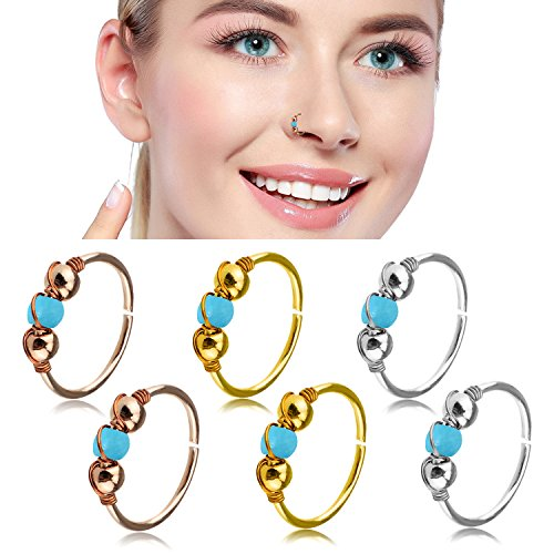 Nose Hoop Rings,20G 6pcs Stainless Steel Body Jewelry Piercing Turquoise Nose Ring Hoop,Nose Studs Rings Tragus hoop Earring. (C: 6Pcs (20G 8mm Outer Diameter))