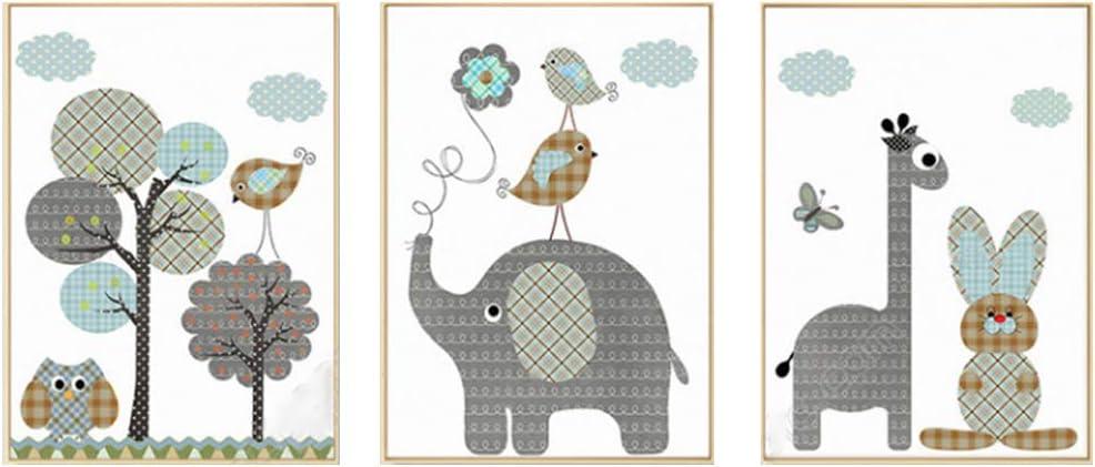 Fran Juego de 3 Cuadros Infantiles Creativo Caricatura Animal Impresiones sobre Lienzo Decoración Habitación Bebé Pared Regalo
