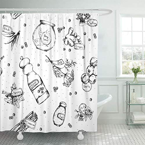 Emvency Fabric Shower Curtain with Hooks Red Pepper of Spices and Herbs Colorful Black Salt Garlic Seasoning Chili Eat Allspice 60