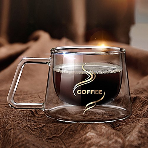 YIFANYU Double Wall Insulated Glass Espresso Mugs Heat Resistant Clear Glass Coffee Tea Cups With Handle by YIFANYU (Image #4)