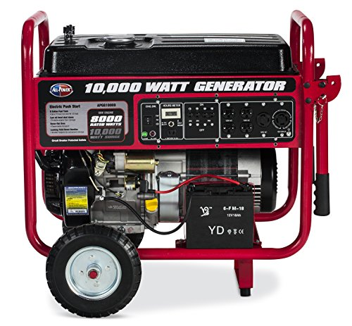 All Power America APGG10000, 10000W Watt Generator with Electric Start, Portable Gas Generator for Home Use Emergency Power Backup, RV Standby, Storm Hurricane Damage Restoration Power Backup, EPA Certified