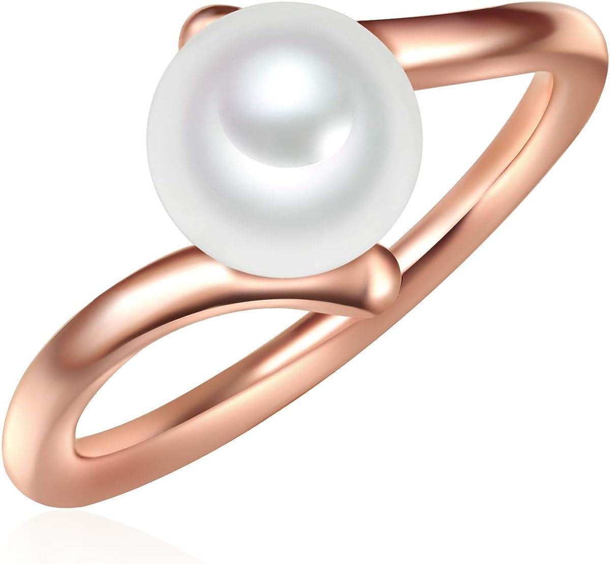 Valero Pearls Damen-Ring Welle Sterling Silber 925 ros/évergoldet S/ü/ßwasser-Zuchtperlen wei/ß Modern-Ring f/ür Frauen Ros/égold-Farben S/ü/ßwasser-perle