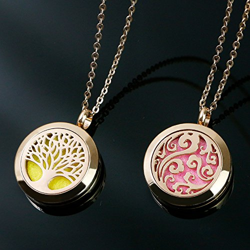 RoyAroma 2PCS Rose Gold Aromatherapy Essential Oil Diffuser Pendant Locket Necklace