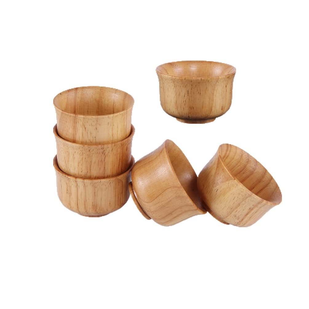 Linshing Creative Anti-slip Wooden Tea Sake Liqure White Wine Cup for Resturant Hotel Family 6pcs Set (set 1-wood teacups)