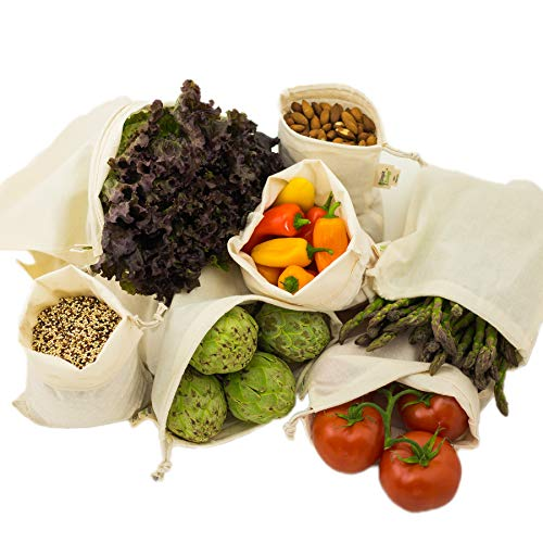 Simple Ecology Reusable Organic Cotton Muslin Grocery Shopping Produce Bags - Set of 6 (2 ea. L, M, S) (heavy duty, washable, produce saver bags, food storage, bulk bin, tare -