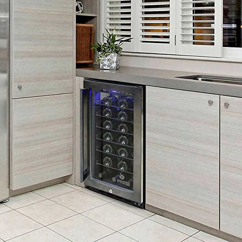Vinotemp 33 Bottle Single Zone Smoked Stainless Steel Wine Chiller ()