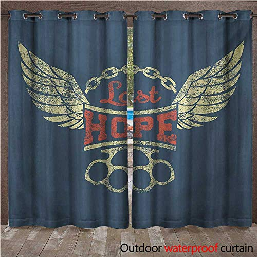 - WilliamsDecor Vintage Home Patio Outdoor Curtain Grunge Label Wings Chain Brass Knuckles Last Hope Quote for Bikers W96 x L84(245cm x 214cm)