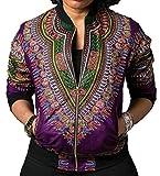 Gnao Women's Long Sleeve Print Dashiki Ethnic Style Africa Baseball Jacket Purple M