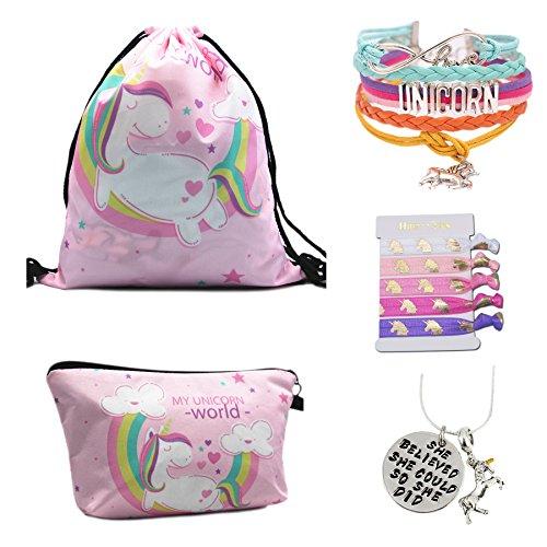 Unicorn Gifts for Girls - Unicorn Drawstring Backpack/Makeup Bag/Bracelet/Inspirational Necklace/Hair Ties by CMK TRENDY KIDS (Image #1)