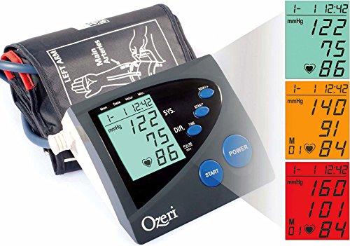 Ozeri BP4M CardioTech Premium Series Digital Arm Blood Pressure Monitor with Hypertension Color Alert Technology