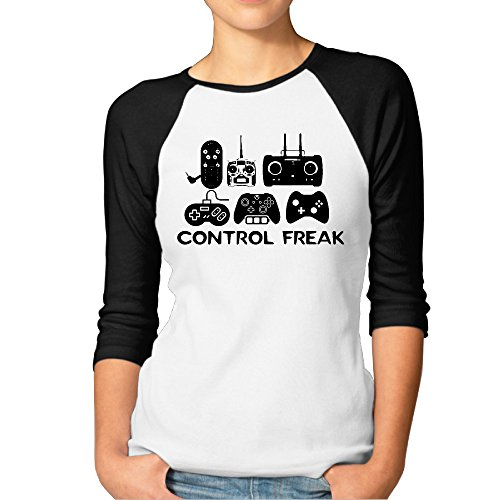 Women Control Freak Video Gamer Funny Raglan Shirt Black XX-Large