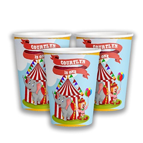 Ounce Circus Cups 9 (12 Personalized Carnival Paper Cups | Circus Theme Party Paper Cups | Custom Paper Cups | Party Cups | Carnival Party Supplies | Circus Party Cups | 9 oz Paper Cups)